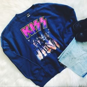 KISS | navy blue kiss band sweatshirt